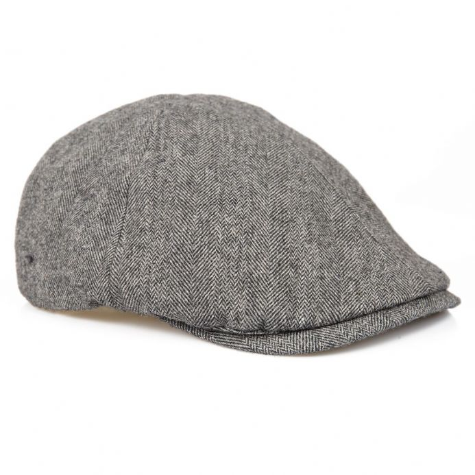 Senlak Herringbone Flat Cap - Light Grey